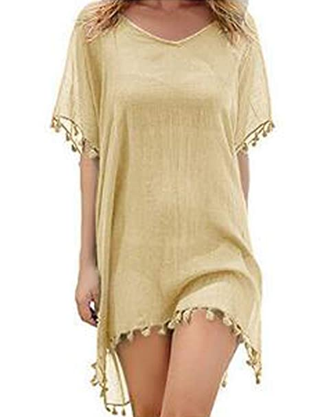 ce7322bfb7 LOMON Beach Swimsuit for Women Sleeve Coverups Bikini Cover up Beige ...