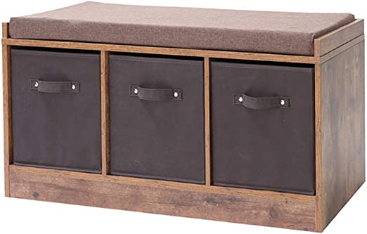 Iwell Rustic Storage Bench With 3 Removable Drawers Entryway Bench Storage Bench With Removable Cushion Perfect For Under Window Hallway Mudroom
