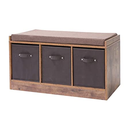 Amazon.com: IWELL banco de almacenamiento rústico con 3 ...