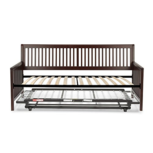 (Leggett & Platt Mission Complete Wood Daybed with Link Spring Support Frame and Pop-Up Trundle Bed, Espresso Finish, Twin)
