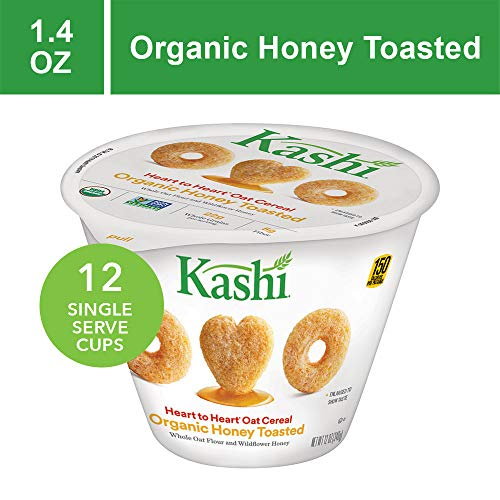 Kashi Heart to Heart, Breakfast Oat Cereal in a Cup, Organic Honey Toasted, Non-GMO Project Verified, Bulk Size, 12 Count (Pack of 12, 1.4 oz Cups)