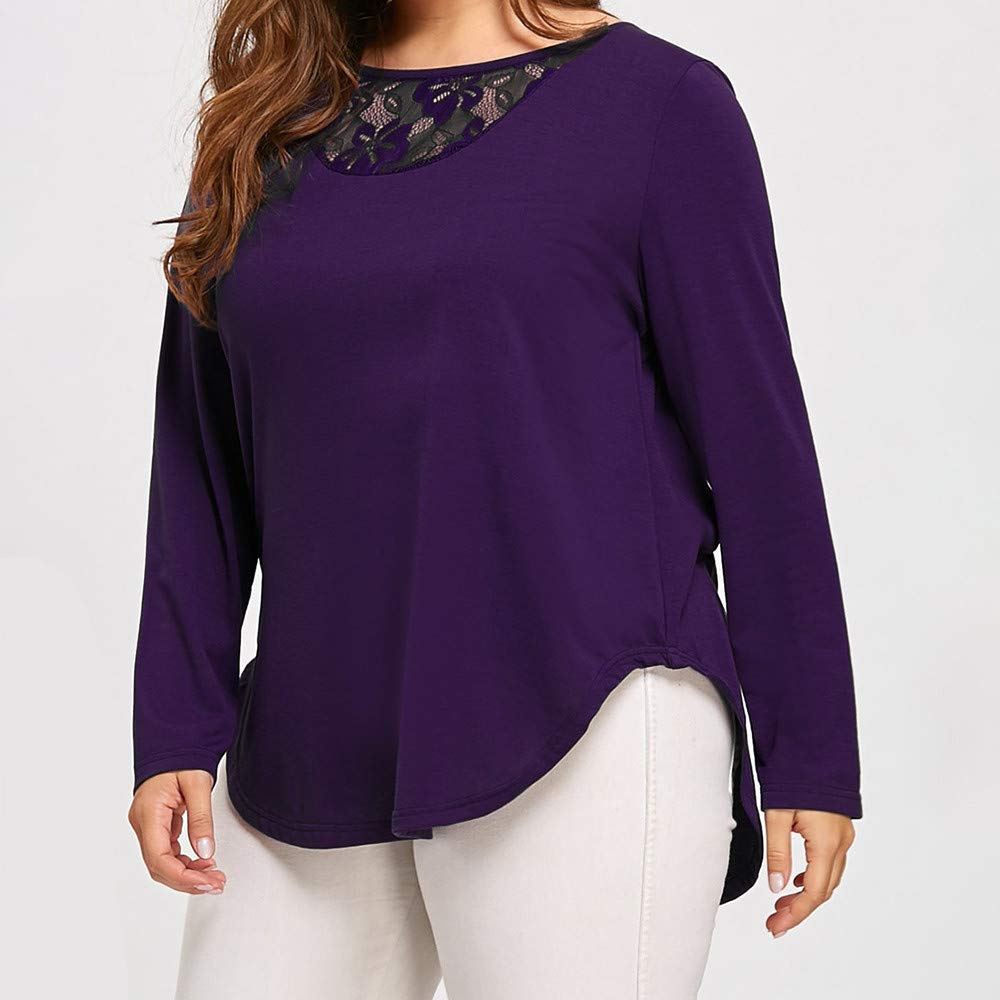 785fa68fde97 Amazon.com  Pumsun Womens Plus Size Winter Long Sleeve O Neck Lace  Patchwork Asymmetric Blouse Tops  Clothing