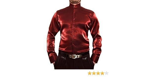 Designer Hombre Libre de Planchar Camisa de Cuello Alto Brillo Camisa para Hombre Negro Blanco Rojo Azul Plata satén Look Brillo Camisa Cuello Alto Camisa: Amazon.es: Ropa y accesorios