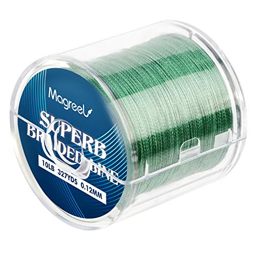 Magreel 10lb Braided Fishing Line, Abrasion Resistant Braided Lines High Performance Strong 4 Strand Superline Smaller Diameter Zero Stretch-327Yards