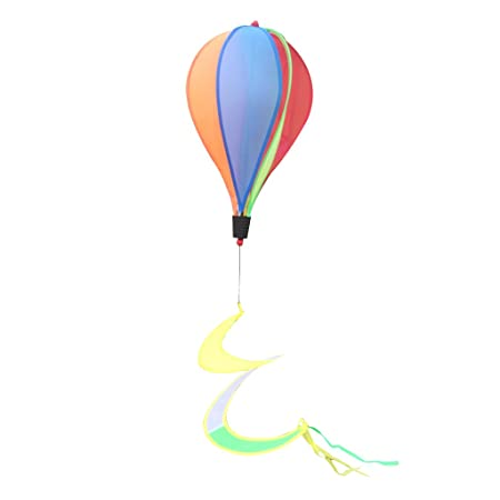 Albio 55'' Hot Air Balloon Wind windsocks Windmill Garden Yard Lawn Decor Outdoor Toy Windsock for Sports Events Festival Rainbow
