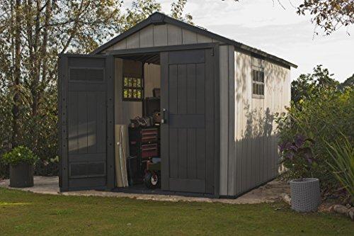 Keter equipment house oakland grey garden rattan furniture for Caseta pvc exterior