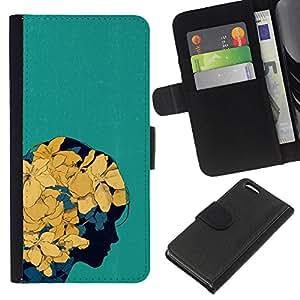 BearCase / Cuero de la tarjeta la carpeta del tirón Smartphone Slots Protección Holder /// Apple Iphone 5C /// Floral de la primavera flores amarillas Chica del arte