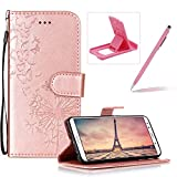 Wallet Leather Case for Huawei Mate 10 Lite,Strap Leather Cover for Huawei Mate 10 Lite,Herzzer Premium Elegant Rose Gold Dandelion Butterfly Printed Magnetic Foldable Full Body Folio Pu Leather Soft Inner Stand Cover with Card Slots
