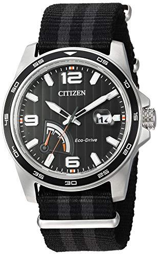 (Citizen Men's Eco-Drive Stainless Steel Quartz Nylon Strap, Black, 21 Casual Watch (Model: AW7030-06E))