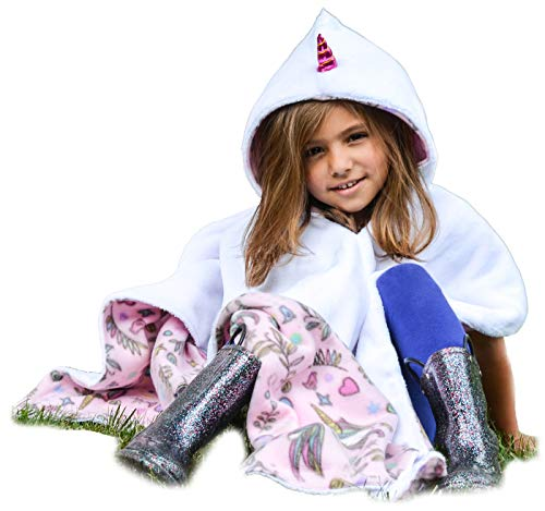 Unicorn Car Seat Poncho for Girls Toddlers Infants Traveling Cover Warm Blanket Safe Use OVER Seat Belts Costume