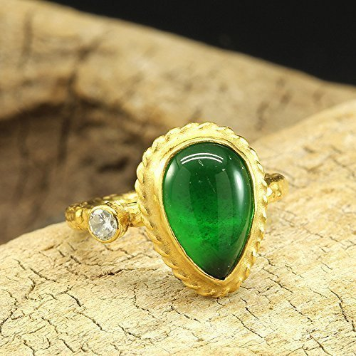 Gold And Emerald Cabochon Ring (Pear Shape Emerald Color Green Cubic Zirconia Ring 925 Sterling Silver 24K Gold Vermeil Handcrafted Hammered Designer Cabochon Right Hand Ring)