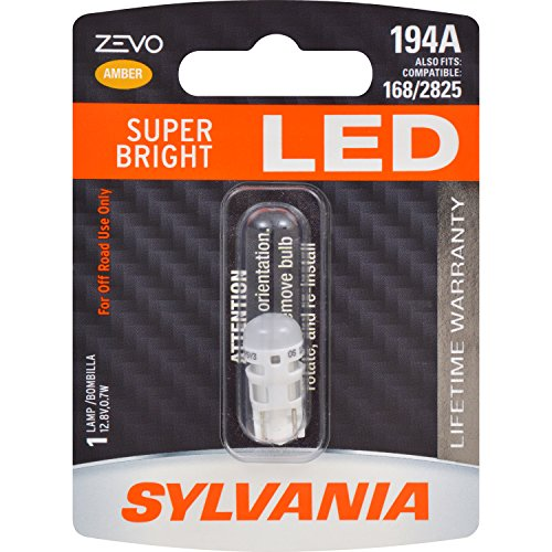SYLVANIA - 194 T10 W5W ZEVO LED Amber Bulb - Bright LED Bulb, Ideal for Interior Lighting (Contains 1 Bulb)