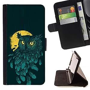 Momo Phone Case / Flip Funda de Cuero Case Cover - Pintura del trullo amarillo del pájaro de noche - Apple Iphone 5C