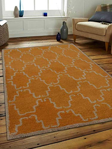Rugsotic Carpets Hand Tufted Wool 4'x6' Area Rug Geometric Gold Beige K00592 from Rugsotic Carpets