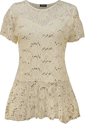 New Womens Plus Size Lace Sequin Ladies Short Sleeve Peplum Frill Top - Sequin Peplum