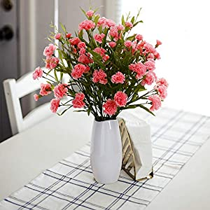 YILIYAJIA 6PCS Artificial Flowers Carnations Silk Flowers Bouquets Fake Floral Decoration for Home Wedding Office Table 46