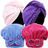 Teenitor 4 Pack Hair Turban Towel Wrap, Microfiber Ultra Absorbent Drying Hair Towel Lightweight Fast Dry Hair Caps with Buttons for Men Women Children Elder Short Long Hair in Spa Bath Shower Home