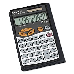 Sharp EL-480SRB 10-Digit Twin Powered Basic Handheld Calculator