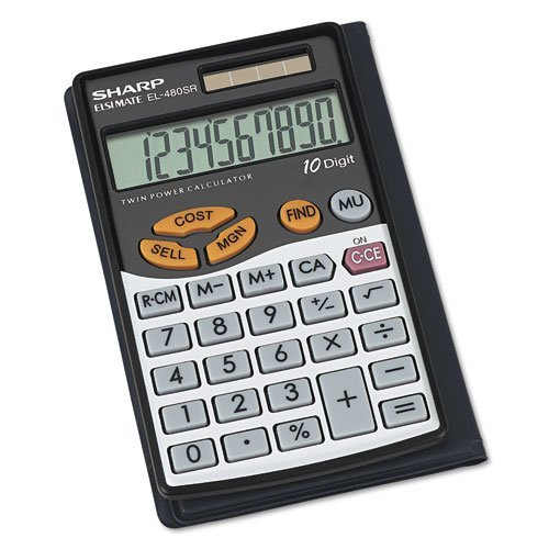 Sharp Calculators EL-480SRB 10-Digit Twin Powered Basic Handheld Calculator