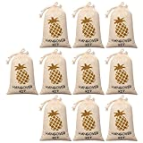 10pcs Wedding Favor Bags 4x6 inch, Gold Glitter Pineapple, Bridesmaid Gift Bags for Bridal Shower Bachelorette Hangover Kit Bags Recovery Kit Bags Cotton Muslin Drawstring Bag