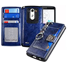 LG G3 Case,[Navy] [Back Pocket Case] [5 Card Slot] Finger Holder Clip PU Leather TPU Bumper Clutch Case [Drop Protection] For LG G3 ACG3NV