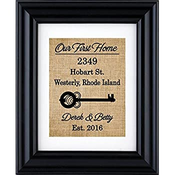Our First Home Sign First Home Burlap Print Housewarming Gift New Home Burlap Wall Decor New Home House Warming Gift 2h Frame Not Included