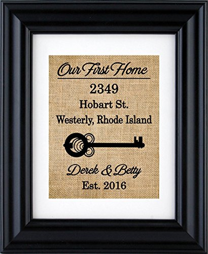 Our First Home Sign, First Home Burlap Print, Housewarming Gift, New Home Burlap Wall Decor, New Home- House Warming Gift- 2H (Frame not Included) -