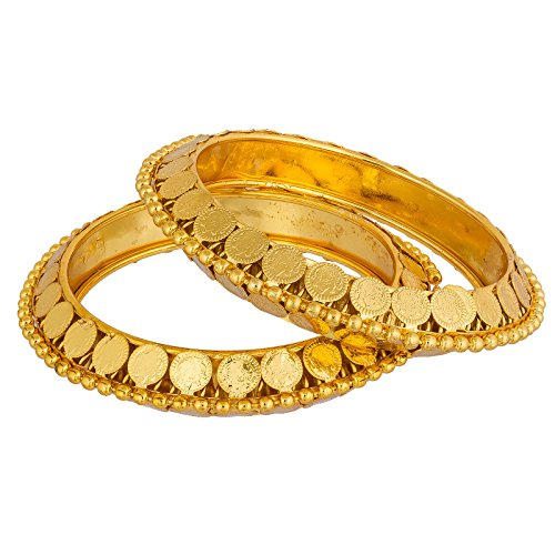 The Luxor Gold Plated Designer Gini Studded Regular Wear Bangles Set (2.8) …