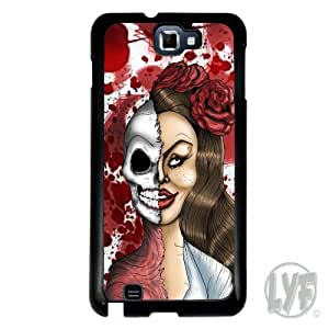 Cover for Samsung Galaxy Note 2 Zombie Skull half girl rose blood splatter case by supermalls