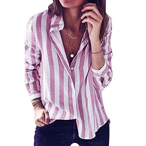 Dames Chemise Rose Couleur Femmes Revers Chemise lache Chemise Bouton Shirt ray de Mode T des Tcwz1R