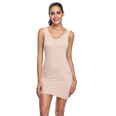 a12a7d676 Full Slips for Women Long Body Shaping Cami Slip Seamless Slimming Deep V  Slip Under Dresses