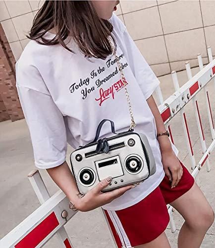Rivet Shaped Messenger Handbag Tote Fashion Shoulder Retro Radio Recorder Vintage Crossbody Chain Bag Gold PU Women's Qiulv EvH1qw6