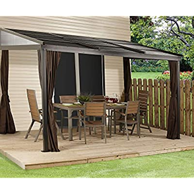 Sojag 10' x 12' Francfort Wall-Mounted Hardtop Gazebo Outdoor Sun Shelter, Black, Brown : Garden & Outdoor