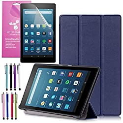 """Amazon Fire HD 8 Case (2017 7th Gen), EpicGadget(TM) Smart Cover Auto Sleep / Wake Premium Leather Folding Folio Case For Fire HD 8, 8"""" HD Display Tablet + Fire HD 8 Screen Protector (Ocean Blue)"""