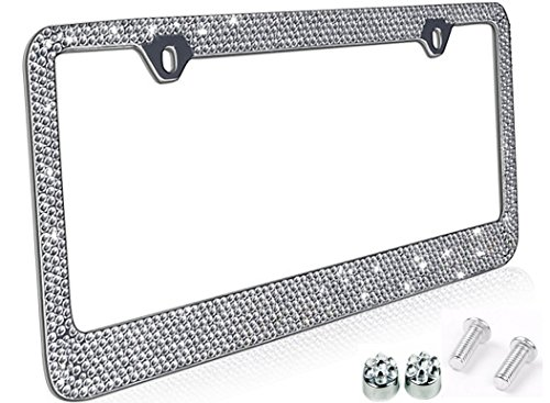 Popular Bling 7 Row White / Clear Color Crystal Metal Chrome License Plate Frame With Crystal Screw Caps - 1 - Popular Frames