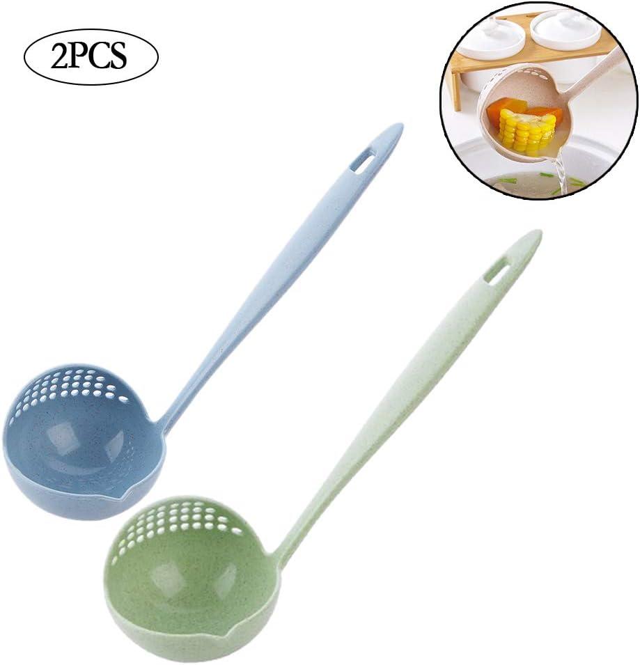 2pcs Creative 2 en 1 Louche /À Soupe Cuill/ère /À Long Manche Passoire Cuiller Filtre Mignon Porridge Art De La Table De Cuisson Outils Vaisselle en Plastique