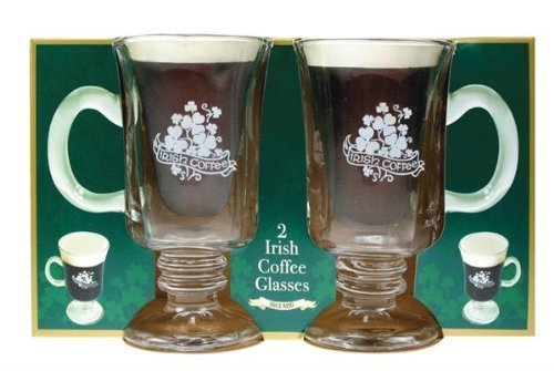 Irish Coffee Glasses with Handle, Set of 2 Shamrock Gift Co