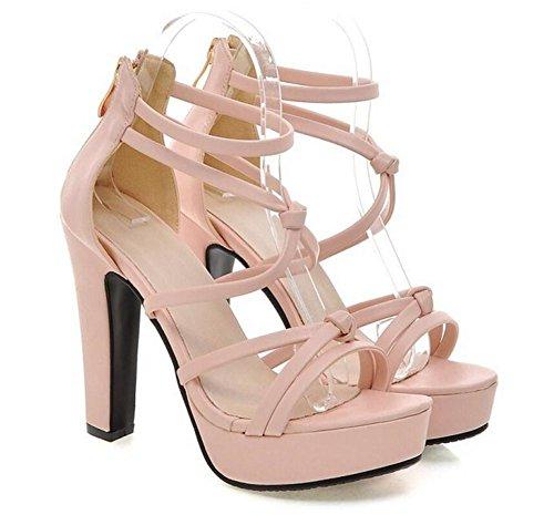 Fina Tacón Zapatos del Abierto Sandalias la de Red de ata Hembra 37 de del 36 Correa Alto la Correa con pie Correa Atractiva XIE Las La Dedo PINK Peach Aw0qwP