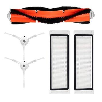 Accesorios de aspiradora para Xiaomi Mi Robot 2 piezas de filtro HEPA 2 piezas de cepillo lateral 1 piezas de cepillo principal: Amazon.es: Hogar