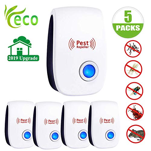 Ultrasonic Pest Repeller 5 Packs Electronic Pest Repeller Plug in Indoor Mouse Repellent Newest Pest Control Ultrasonic Repellent Best Pest Controller for Mosquito,Mice,Spider,Insects