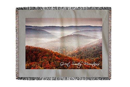 Lantern Press Great Smoky Mountains, Tennessee - Autumn Fog Over Hills (60x80 Woven Chenille Yarn Blanket)