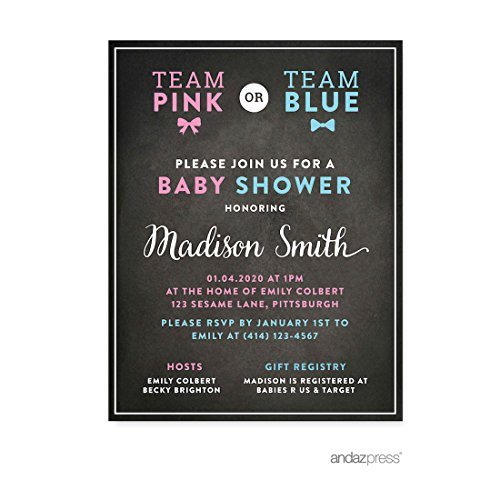 Andaz Press Team Pink Team Blue Gender Reveal Baby Shower Party, Personalized Invitations Custom Made, 20-pack