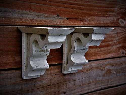 (PAIR of Antique style Corbel Wooden shelf, Distressed white wooden shelf brace wall scone, Cream colored Corbel FarmhouseFurnitureTX many colors)