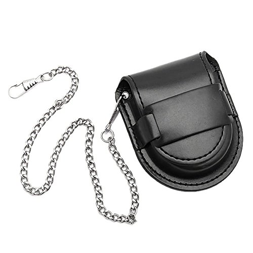 SODIAL Vintage Leather Chain Pocket Watch Holder Storage Case Box Black