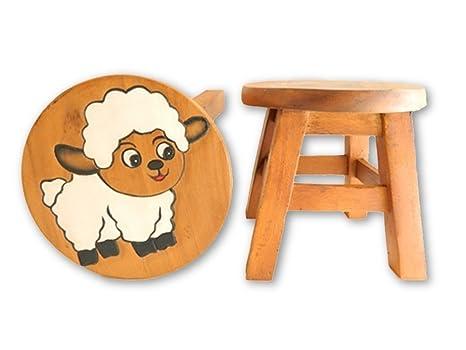 Thai gifts childs sgabello in legno per bambini bianco pecora