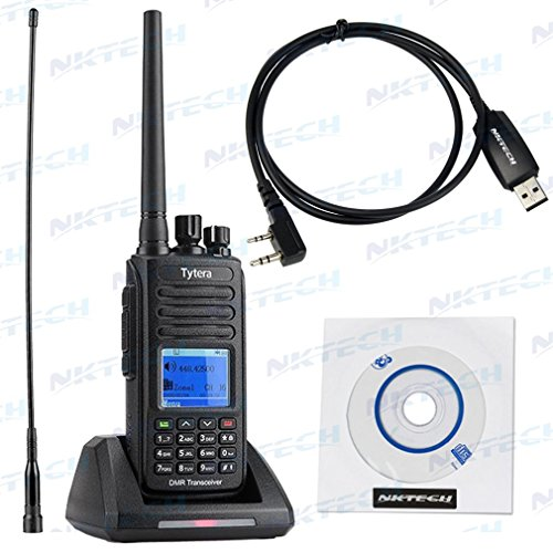 NKTECH USB Programming Cable With 2800mAh Battery & TYT MD-390 IP67 Waterproof Transceiver Digital Mobile Radio VHF 136-174MHz Repeater Slot Two Way Radio by NKTECH