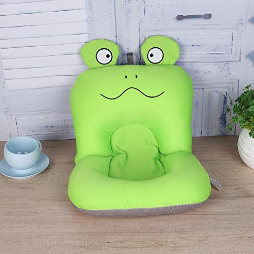 Baby Bath Cushion Shower Pad Frog Pattern Anti-Slip Infant Bath Tub Pad Chair Shelves Bathroom Seat Pillow Mat Soft Support for Newborn Baby(Frog)