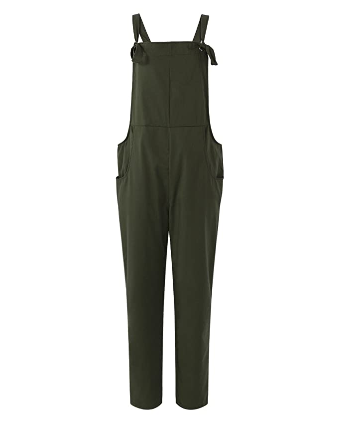 6ebe7da7d83 Amazon.com  ACHIOOWA Women s Sleeveless Overall Strappy Pocket Jumpsuit  Baggy Romper Bib Loose Trousers  Clothing