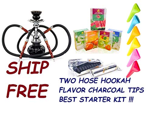 2 Hose Hookah Glass Water Pipe Vase Nargila with Charcoal, 50 gr Flavor,Tips Hookah Set (Best Hookahs For Sale)