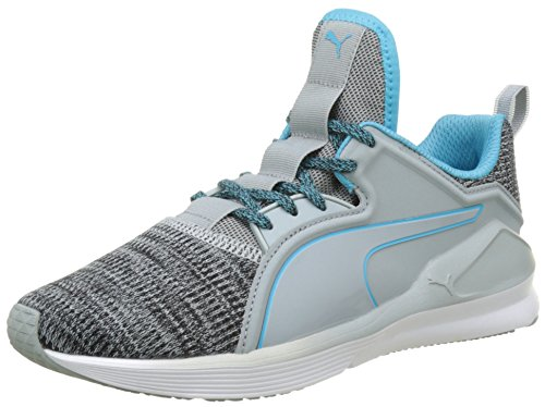 Puma Fierce Lace Knit Wn's, Zapatillas Deportivas para Interior para Mujer Gris (Quarry-puma White-blue Atoll 03)